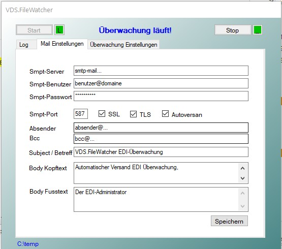 Filewatcher Maileinstellungen